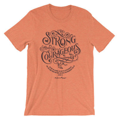Be Strong And Courageous - Cozy Fit Short Sleeve Tee-Heather Orange-S-Made In Agapé