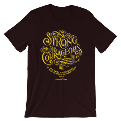 Be Strong And Courageous - Cozy Fit Short Sleeve Tee-Oxblood Black-S-Made In Agapé