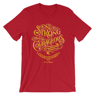 Be Strong And Courageous - Cozy Fit Short Sleeve Tee-Red-S-Made In Agapé