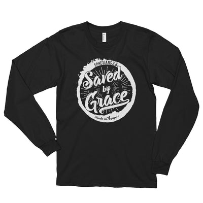 Saved By Grace - Unisex Long Sleeve Shirt-Black-S-Made In Agapé