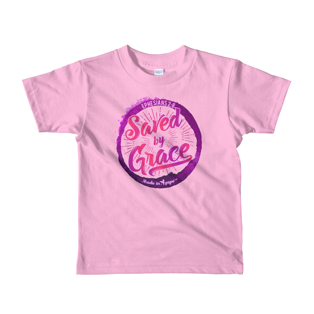 Saved By Grace - Kids T-Shirt-Pink-2yrs-Made In Agapé