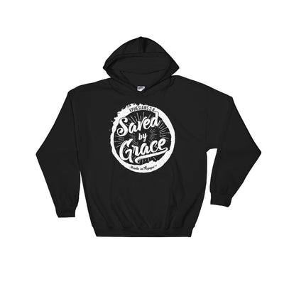 Saved By Grace - Men's Hoodie-Black-S-Made In Agapé