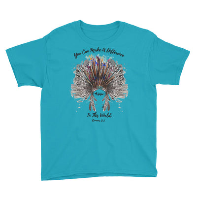 Make A Difference In This World - Youth Short Sleeve Tee-Caribbean Blue-XS-Made In Agapé