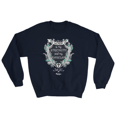 Lord Is My Strength And Shield - Men's Sweatshirt-Navy-S-Made In Agapé