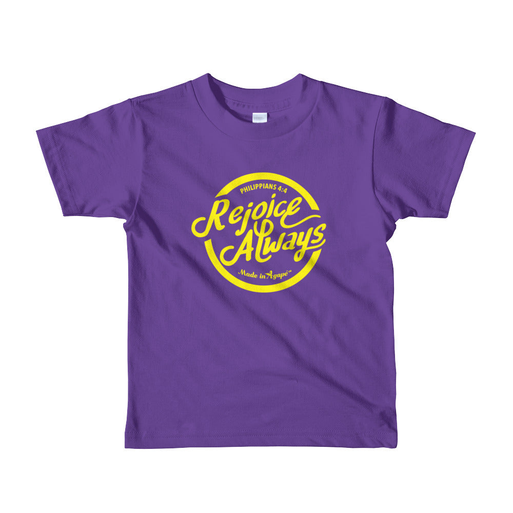 Rejoice Always - Kids T-Shirt-Purple-2yrs-Made In Agapé