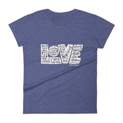 LOVE Protects - Ladies' Fit Tee-Heather Blue-S-Made In Agapé