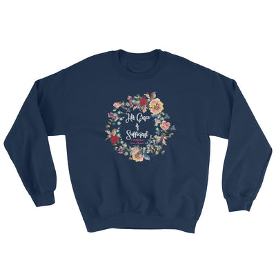 His Grace Is Sufficient - Women's Sweatshirt-Navy-S-Made In Agapé