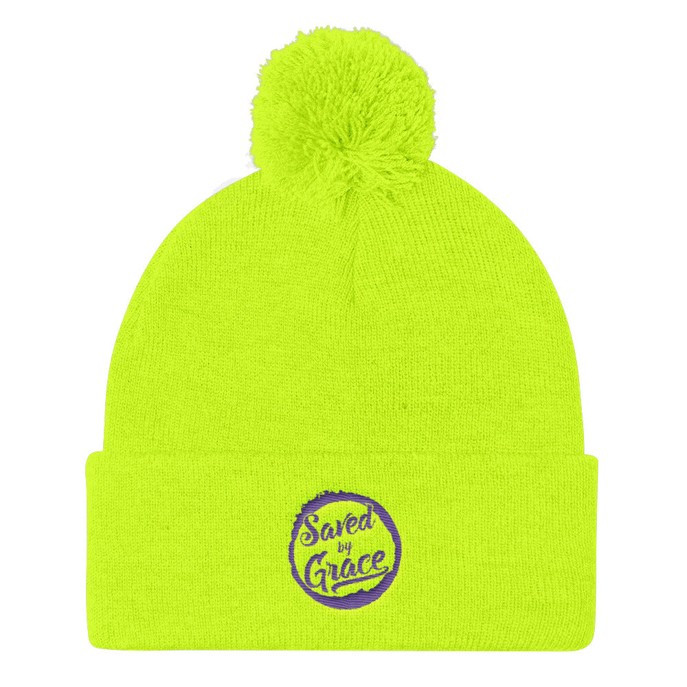 Saved By Grace - Pom Pom Knit Beanie-Neon Yellow-Made In Agapé