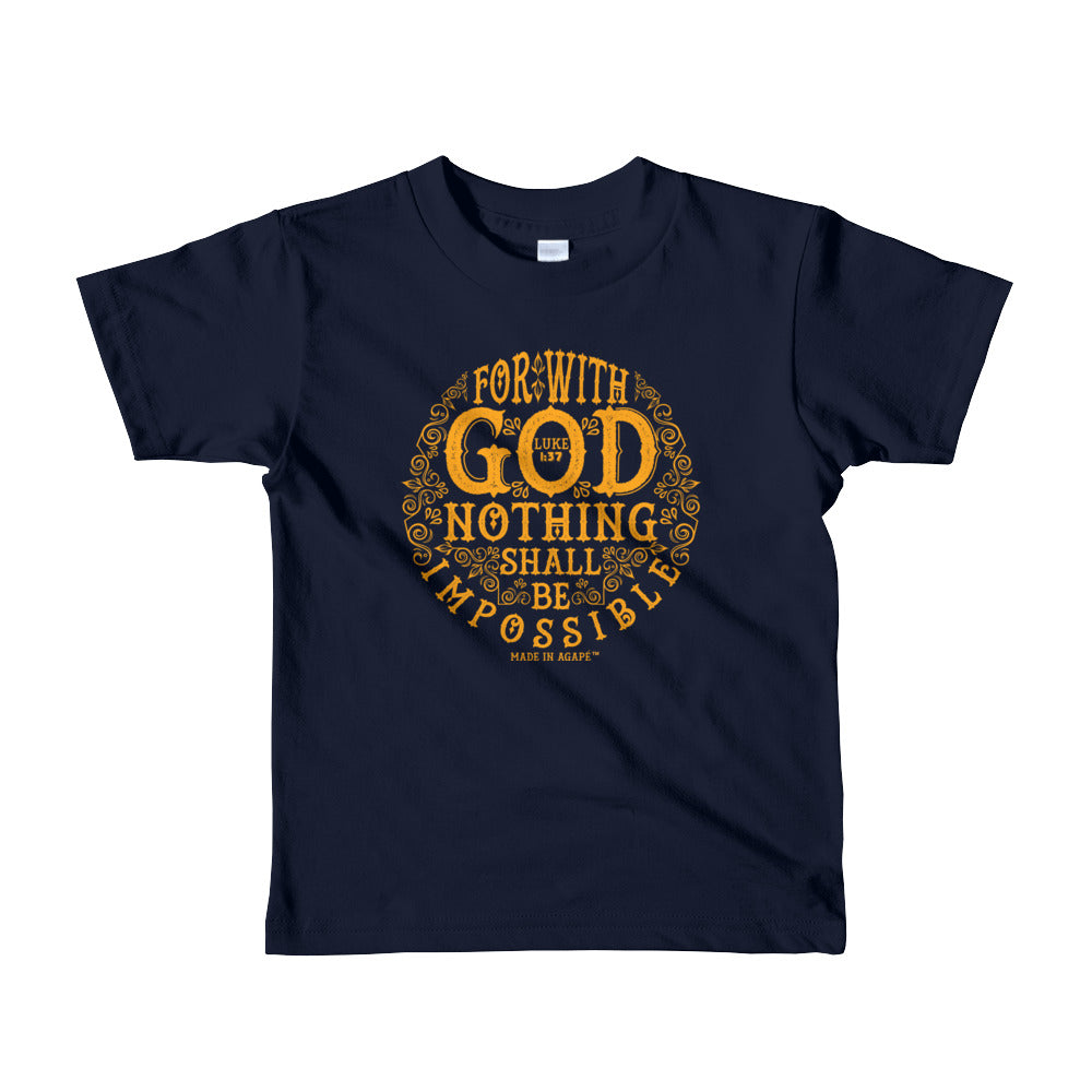 Nothing Impossible With God - Kids T-Shirt-Navy-2yrs-Made In Agapé