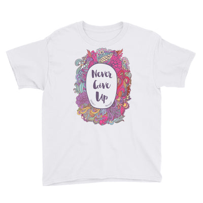 Never Give Up - Youth Short Sleeve Tee-White-XS-Made In Agapé