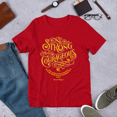 Be Strong and Courageous - Unisex Crew-Red-S-Made In Agapé
