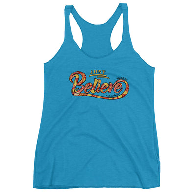 Just Believe - Ladies' Triblend Racerback Tank-Vintage Turquoise-XS-Made In Agapé