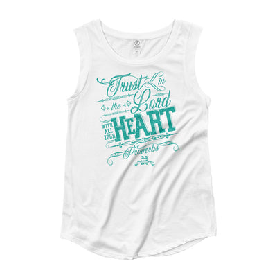 Trust In the Lord - Ladies' Cap Sleeve-White-S-Made In Agapé
