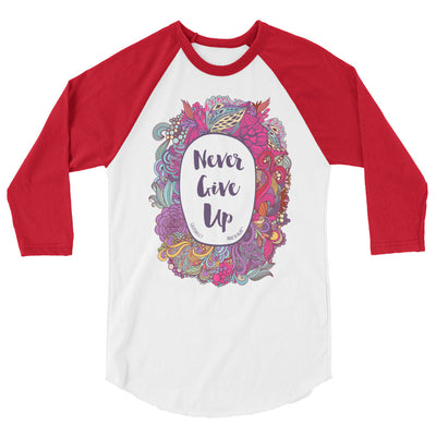 Never Give Up - Unisex 3/4 Sleeve Raglan Baseball Tee-White/Red-XS-Made In Agapé