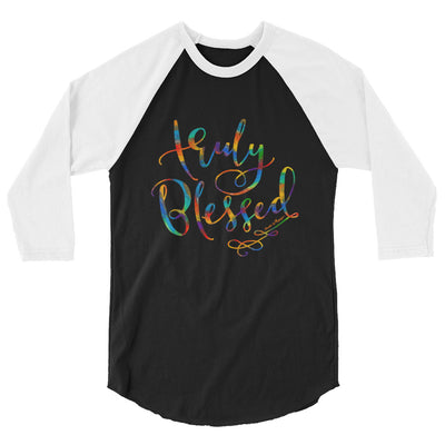 Truly Blessed - Unisex 3/4 Sleeve Raglan Baseball Tee-Black/White-XS-Made In Agapé
