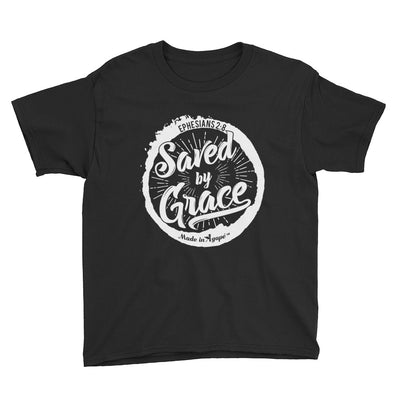 Saved By Grace - Youth Short Sleeve Tee-Black-XS-Made In Agapé