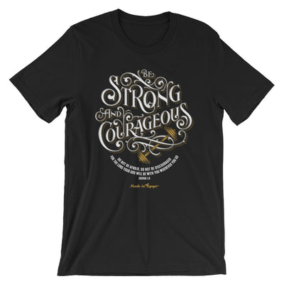 Be Strong And Courageous - Cozy Fit Short Sleeve Tee-Black-XS-Made In Agapé