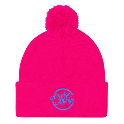 Rejoice Always - Pom Pom Knit Beanie-Neon Pink-Made In Agapé