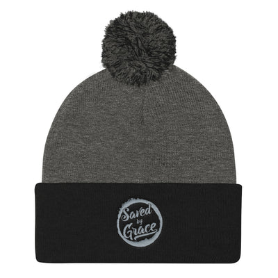 Saved By Grace - Pom Pom Knit Beanie-Dark Heather Grey/ Black-Made In Agapé