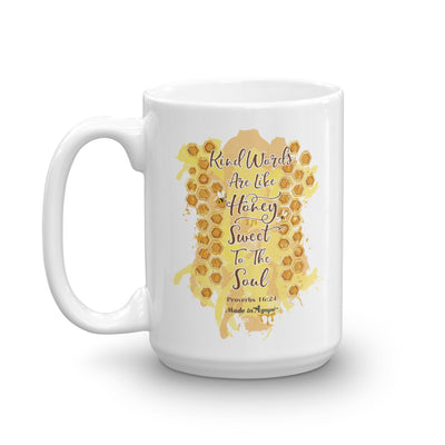 Kind Words Are Like Honey - Coffee Mug-15oz-Left Handle-Made In Agapé