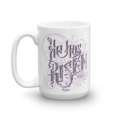 He Has Risen - Coffee Mug-15oz-Left Handle-Made In Agapé
