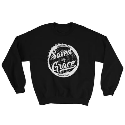 Saved By Grace - Men's Sweatshirt-Black-S-Made In Agapé