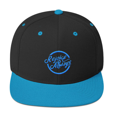 Rejoice Always - Snapback Hat-Black/ Teal-Made In Agapé