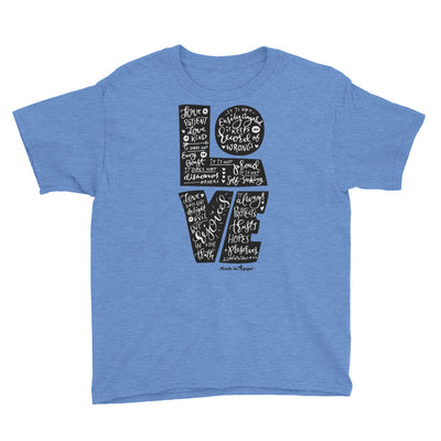 LOVE is Patient - Youth Short Sleeve Tee-Heather Royal-XS-Made In Agapé