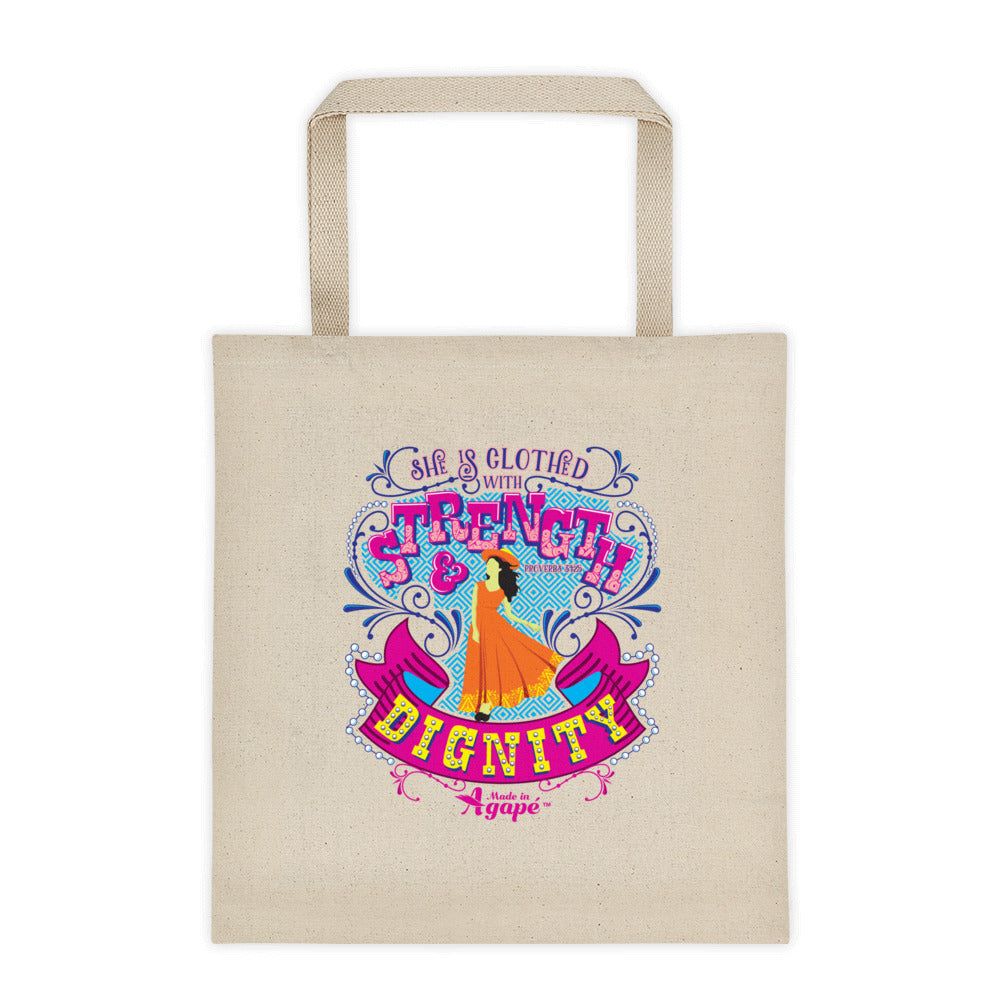 Clothed With Strength And Dignity - Tote Bag-Made In Agapé