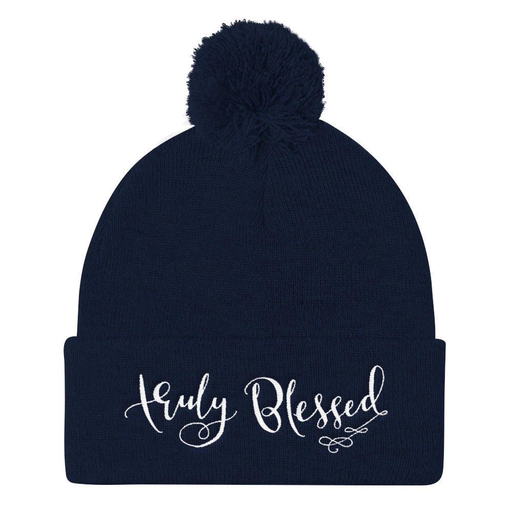 Truly Blessed - Pom Pom Knit Beanie-Navy-Made In Agapé