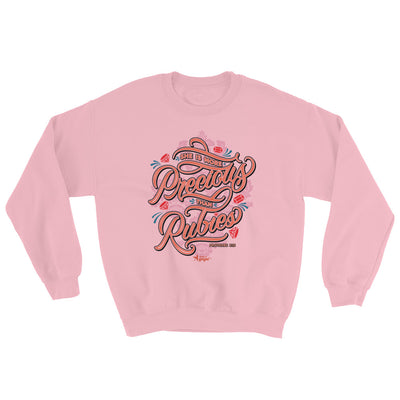 She's More Precious Than Rubies - Women's Sweatshirt-Light Pink-S-Made In Agapé