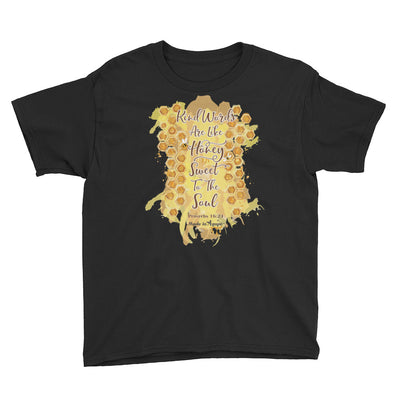 Kind Words Are Like Honey - Youth Short Sleeve Tee-Black-XS-Made In Agapé