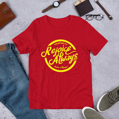 Rejoice Always - Cozy Fit Short Sleeve Tee-Red-S-Made In Agapé