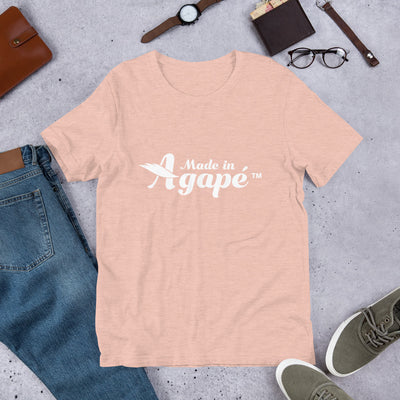 Made In Agapé™ - Cozy Fit Short Sleeve Tee-Heather Prism Peach-XS-Made In Agapé