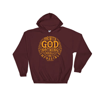 Nothing Impossible With God - Men's Hoodie-Maroon-S-Made In Agapé
