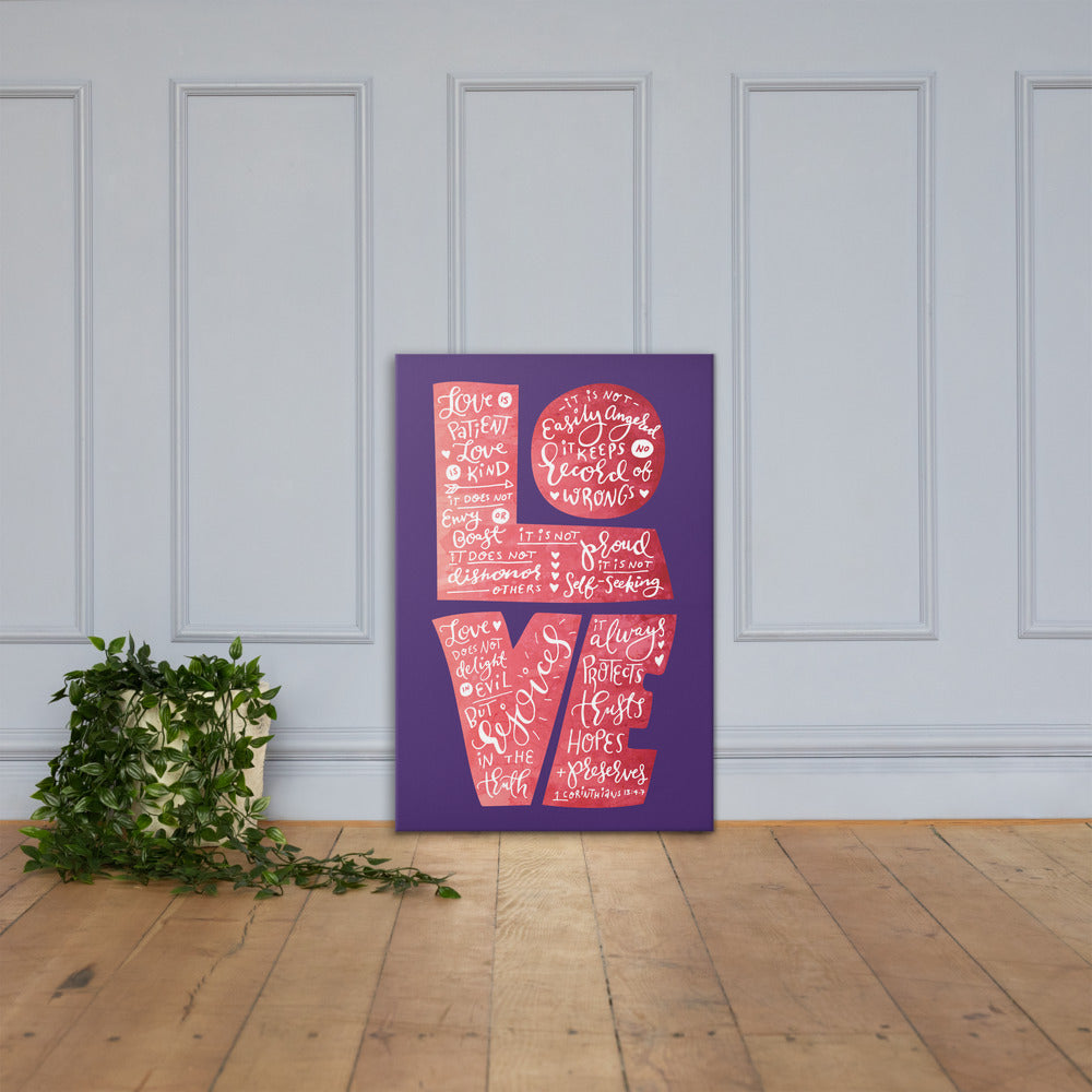 Love Is Patient - Canvas Wall Art-24×36-Made In Agapé