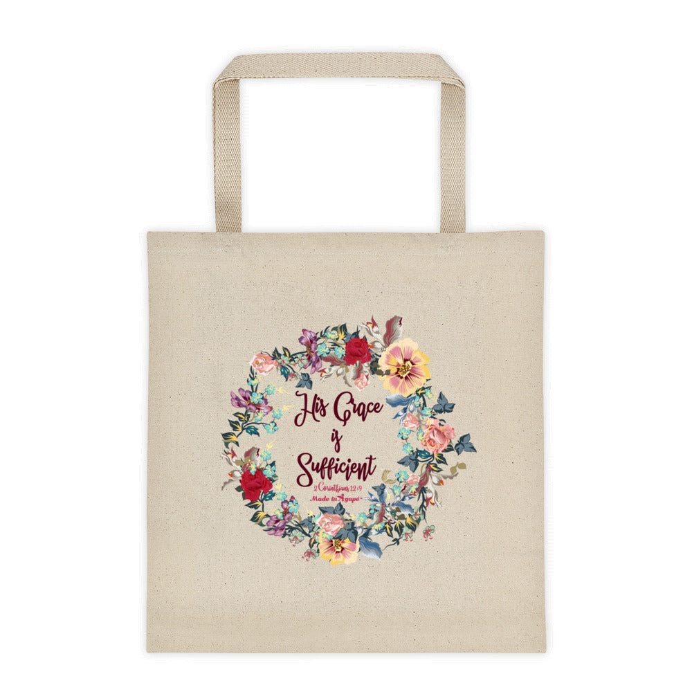 His Grace Is Sufficient - Tote Bag-Made In Agapé