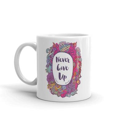 Never Give Up - Coffee Mug-11oz-Left Handle-Made In Agapé