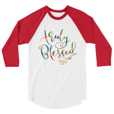 Truly Blessed - Unisex 3/4 Sleeve Raglan Baseball Tee-White/Red-XS-Made In Agapé