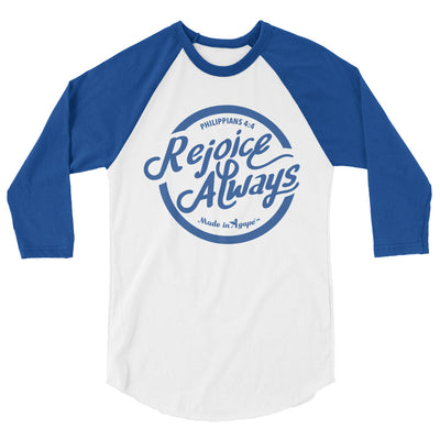 Rejoice Always - Unisex 3/4 Sleeve Raglan Baseball Tee-White/Royal-XS-Made In Agapé