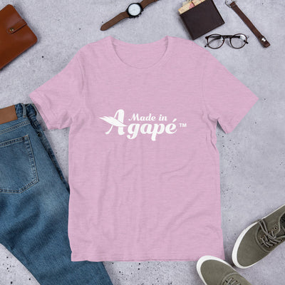 Made In Agapé™ - Cozy Fit Short Sleeve Tee-Heather Prism Lilac-XS-Made In Agapé