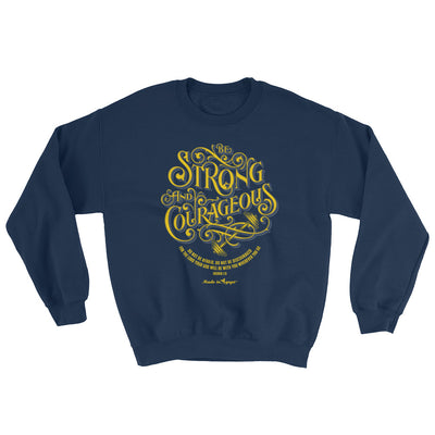 Be Strong And Courageous - Women's Sweatshirt-Navy-S-Made In Agapé