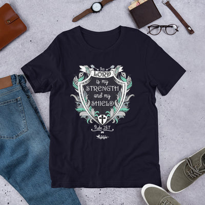 Lord Is My Strength and Shield - Unisex Crew-Navy-XS-Made In Agapé