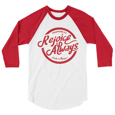 Rejoice Always - Unisex 3/4 Sleeve Raglan Baseball Tee-White/Red-XS-Made In Agapé