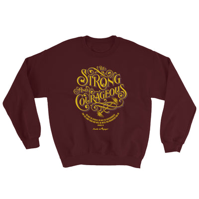 Be Strong And Courageous - Men's Sweatshirt-Maroon-S-Made In Agapé