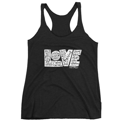 LOVE Protects - Ladies' Triblend Racerback Tank-Vintage Black-XS-Made In Agapé