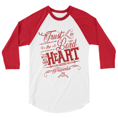 Trust In the Lord - Unisex 3/4 Sleeve Raglan Baseball Tee-White/Red-XS-Made In Agapé