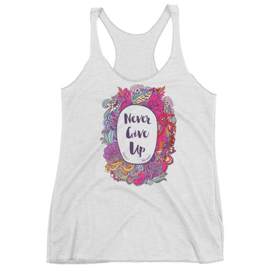 Never Give Up - Ladies' Triblend Racerback Tank-Heather White-XS-Made In Agapé