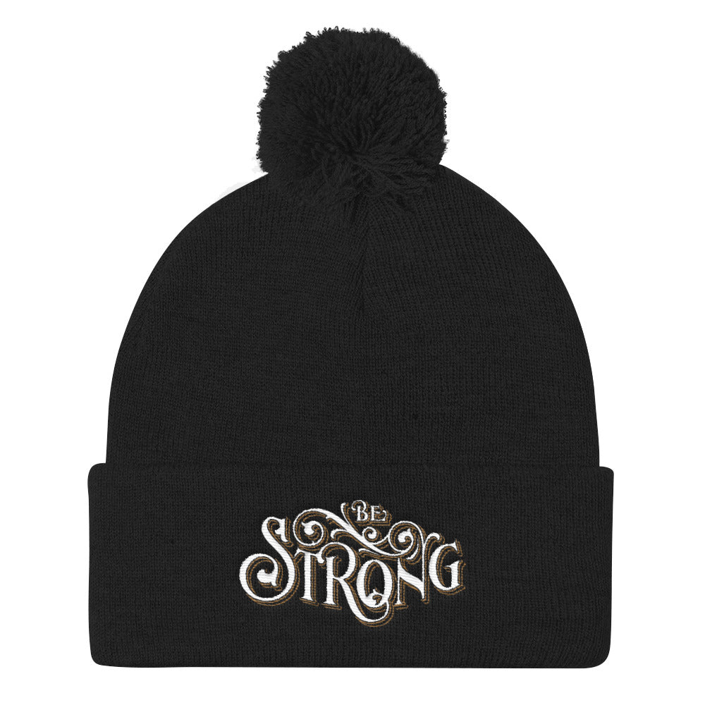 Be Strong - Pom Pom Knit Beanie-Black-Made In Agapé