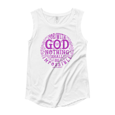 Nothing Impossible With God - Ladies' Cap Sleeve-White-S-Made In Agapé